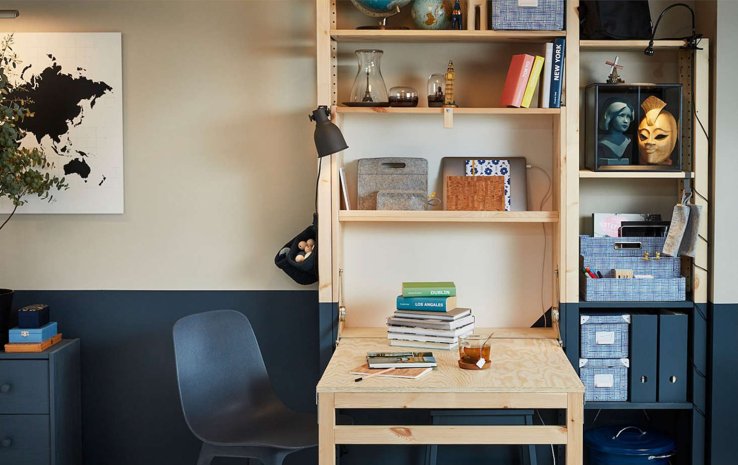 The IKEA Ivar Storage Unit Foldable Table is made of raw pine; $src=