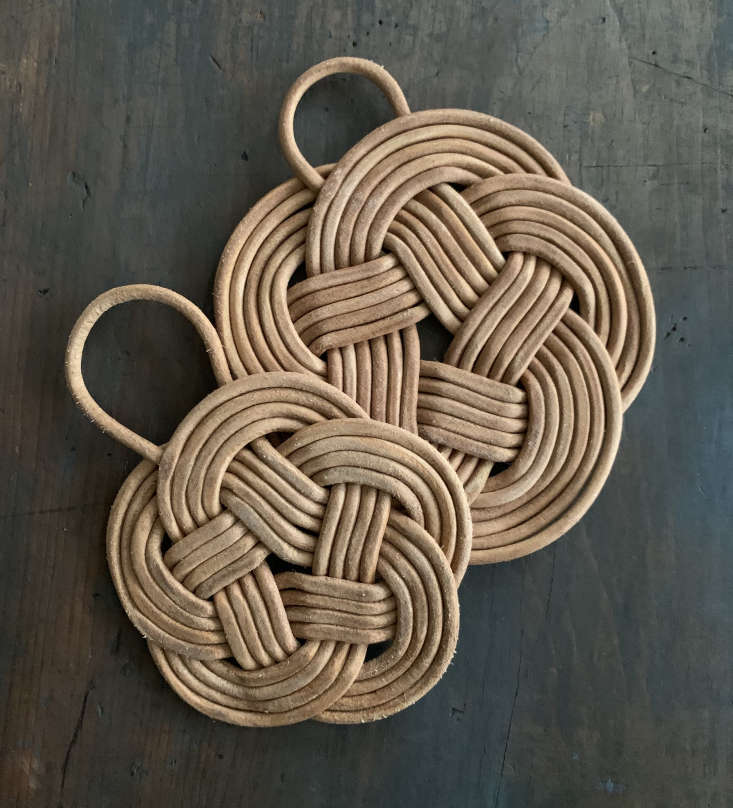 pidgin&#8\2\17;s trivets are woven in new york state from greek leather cor 17