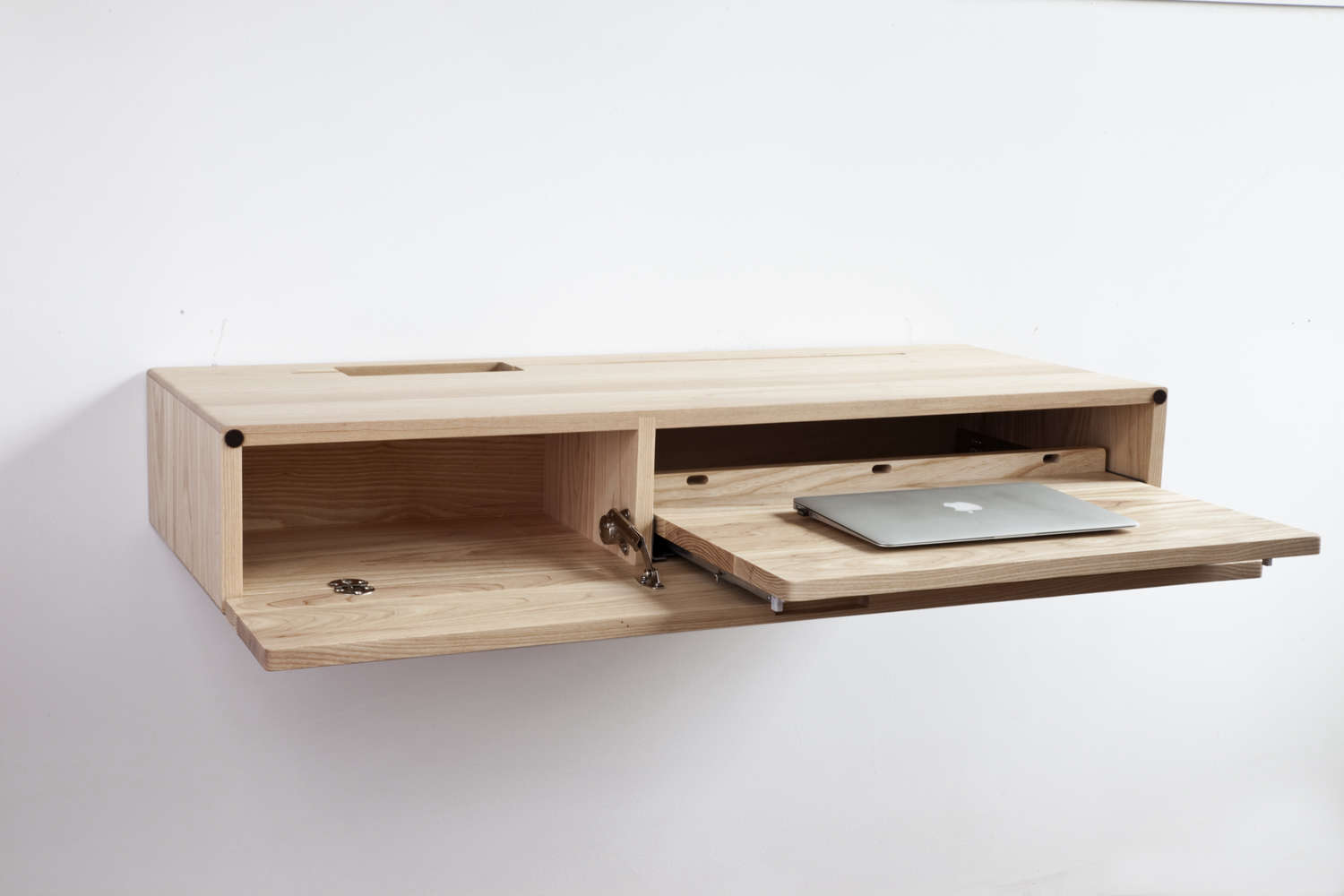 The Ledge Wall-Mounted Desk in ash, beech, or walnut is $loading=