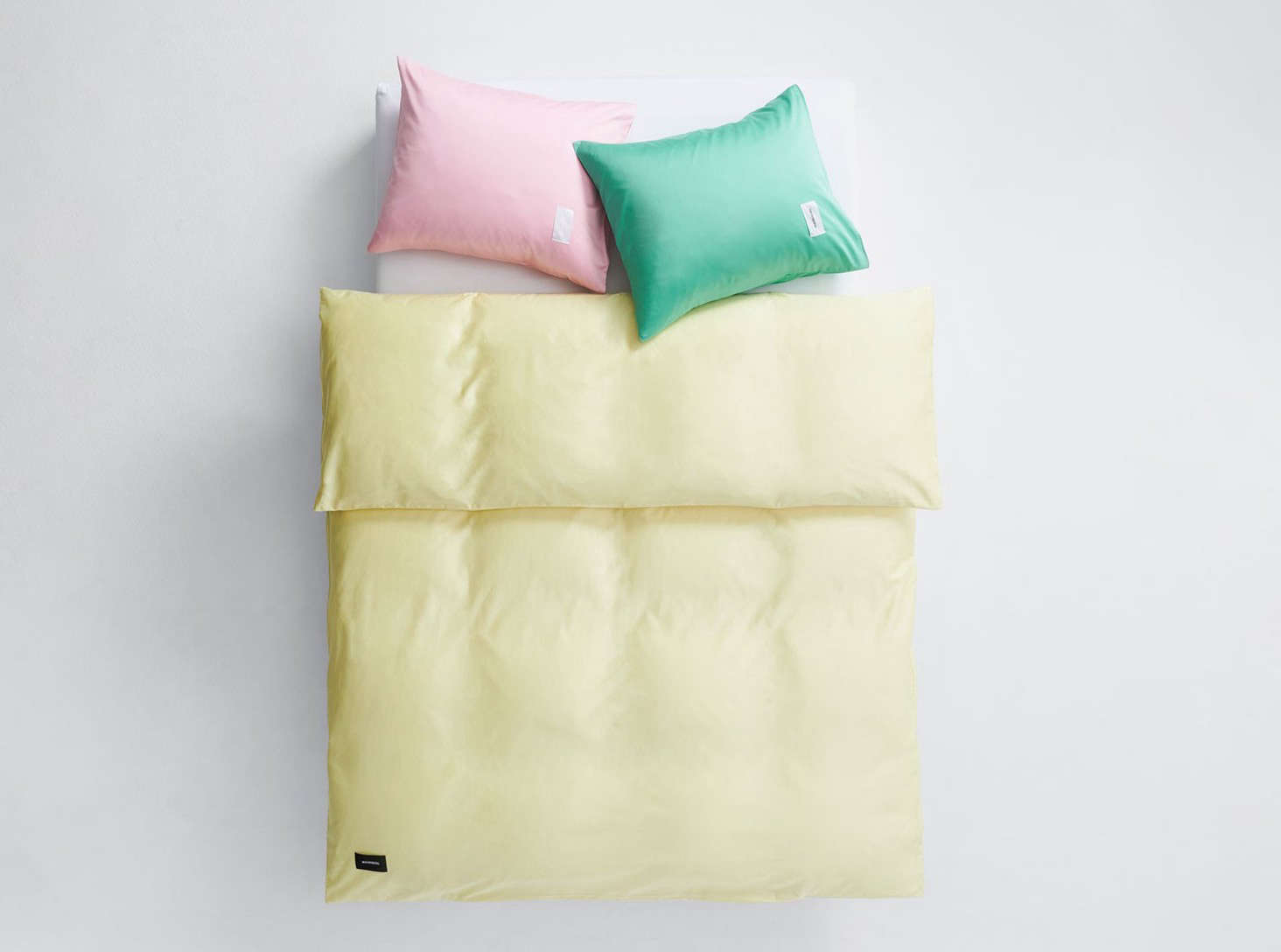 The Lemonade Duvet Cover in cotton sateen is tightly woven, which gives the textile a bit of weight and warmth.