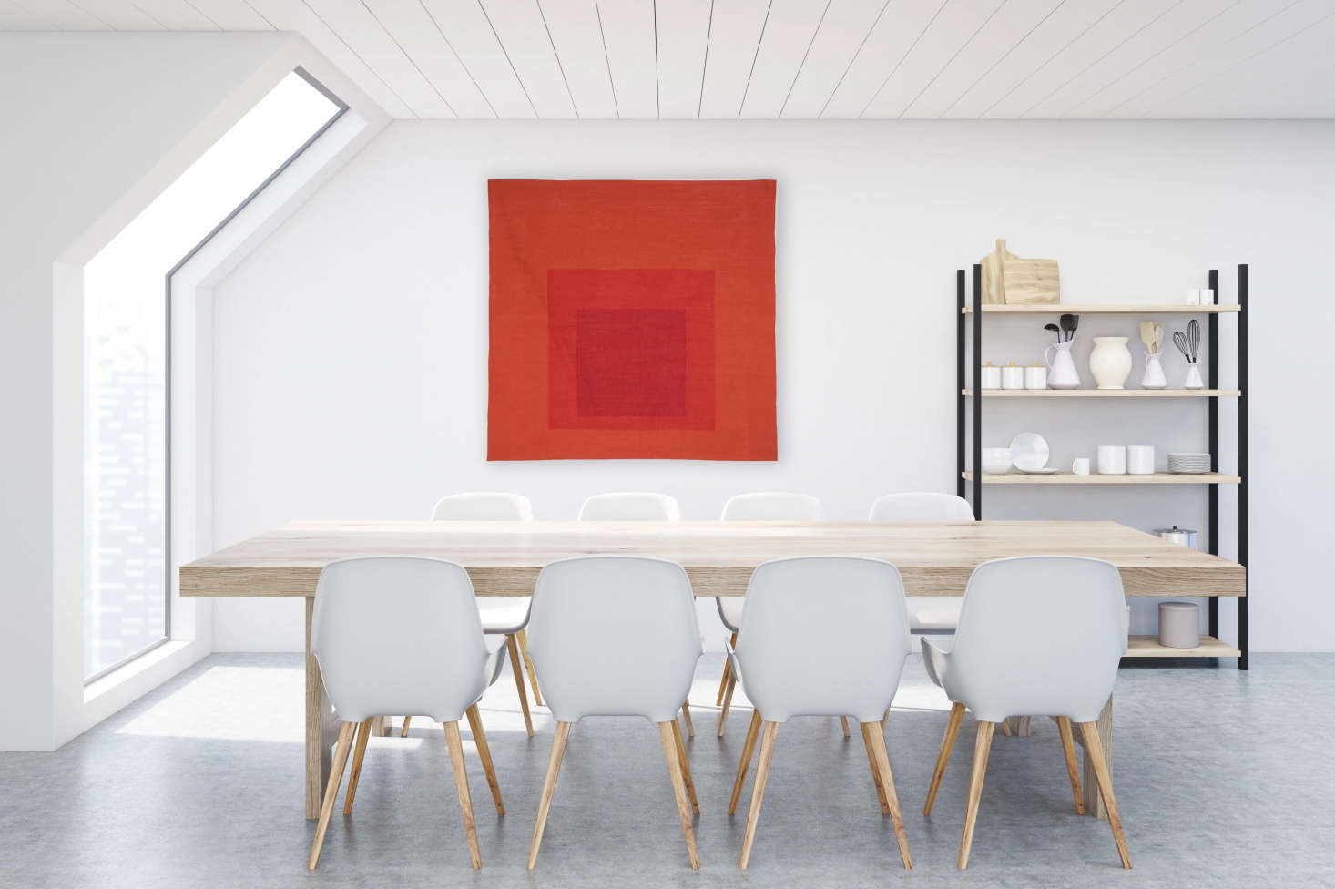 Artware offers made-to-order Homage to the Square wool tapestries in limited editions of . These are licensed by the Albers Foundation and directly modeled after Albers paintings. Five designs are available for $9,600 each.