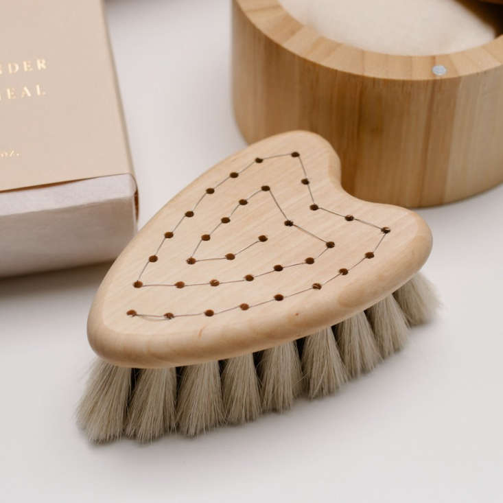 Justine is planning to give her expectant friends a heart-shaped Iris Hantverk Baby Brush, made from birch wood and ultra soft goat hair; $ from Helen Milan.