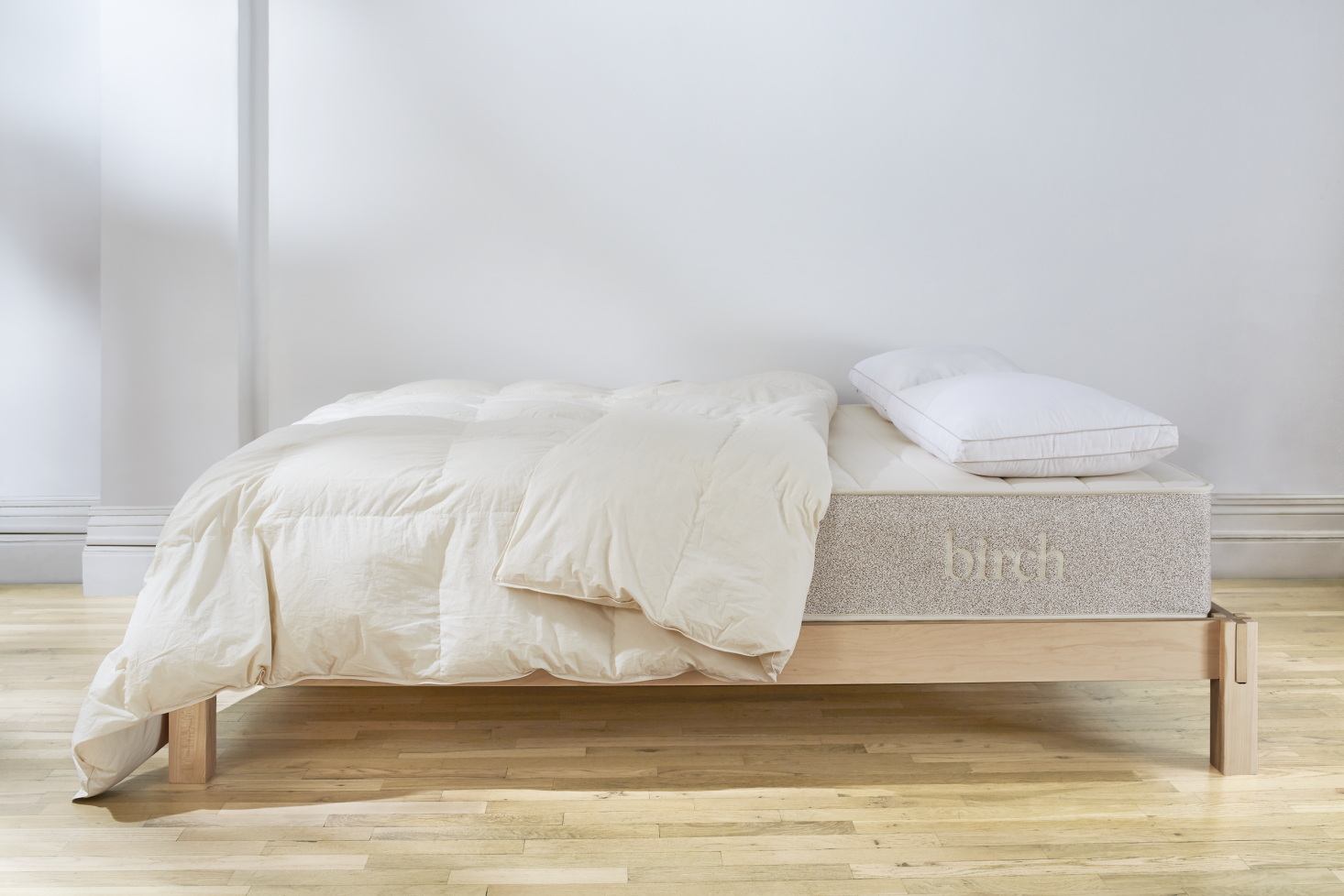 The mattress is made from sustainably sourced organic wool from independent farms in New Zealand, each compliant with the PGC Wrightson Wool Integrity Program to guarantee fair farming practices. The mattress is pictured here on the company's Birch Frame, made with 0 percent Appalachian hardwood bed rails, solid Southern yellow pine slats, and Appalachian maple legs; assembly is completely tool-less ($549 for the queen size).