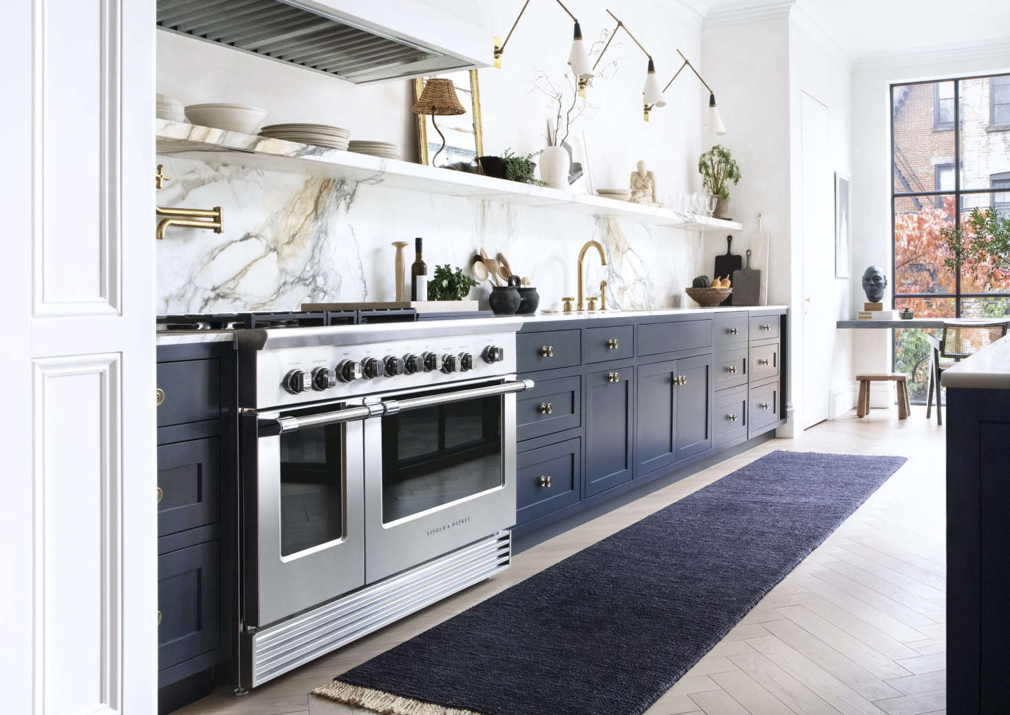 """The 48"""" Professional Range in situ. See all of the 48"""" models (including eight burners, five or six burners with inset griddle, or six burners with grill) here. Photograph by Sarah Elliott."""