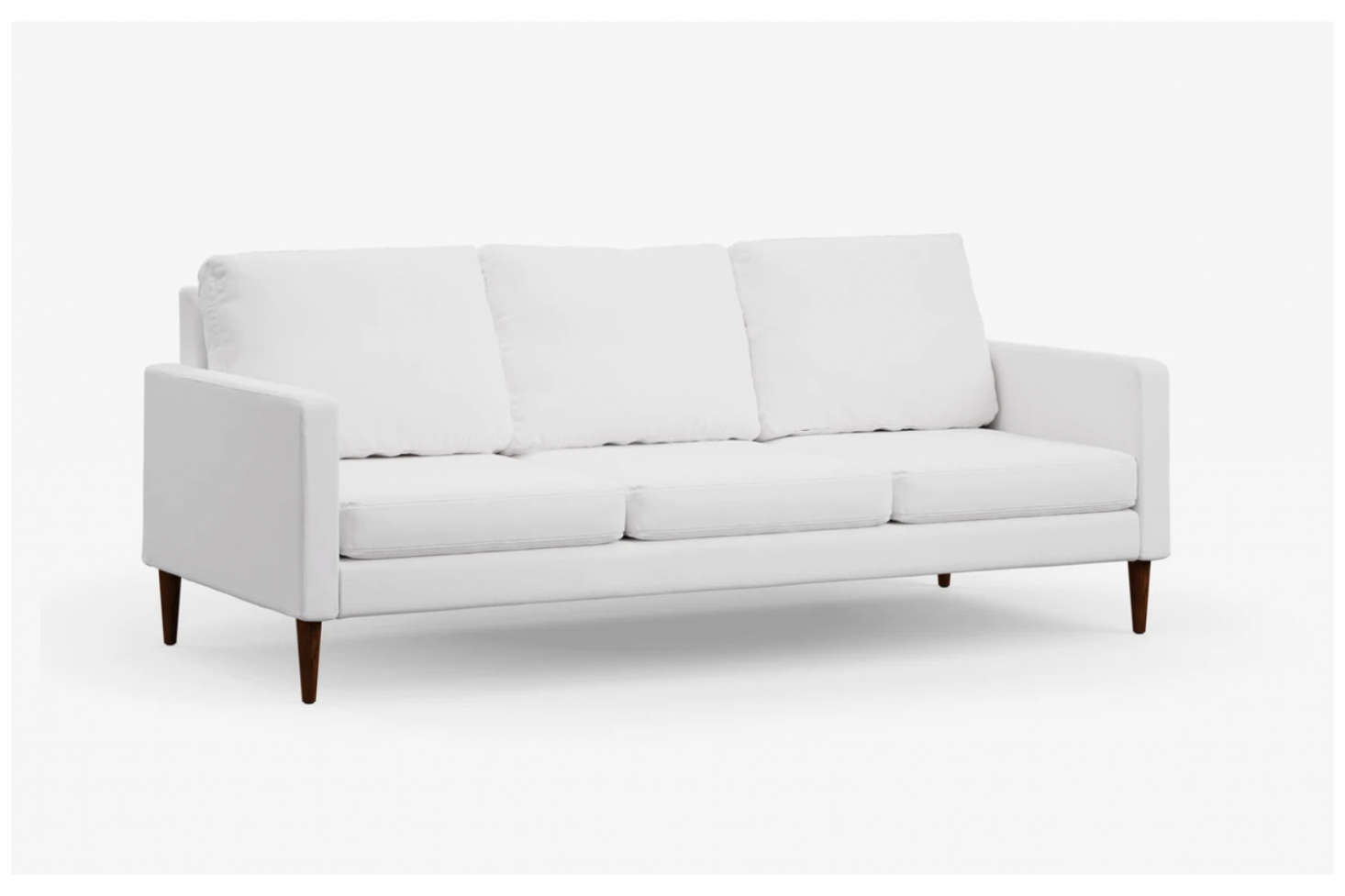 The Campaign Sofa shown in Pearl White Flat Weave upholstery is $src=