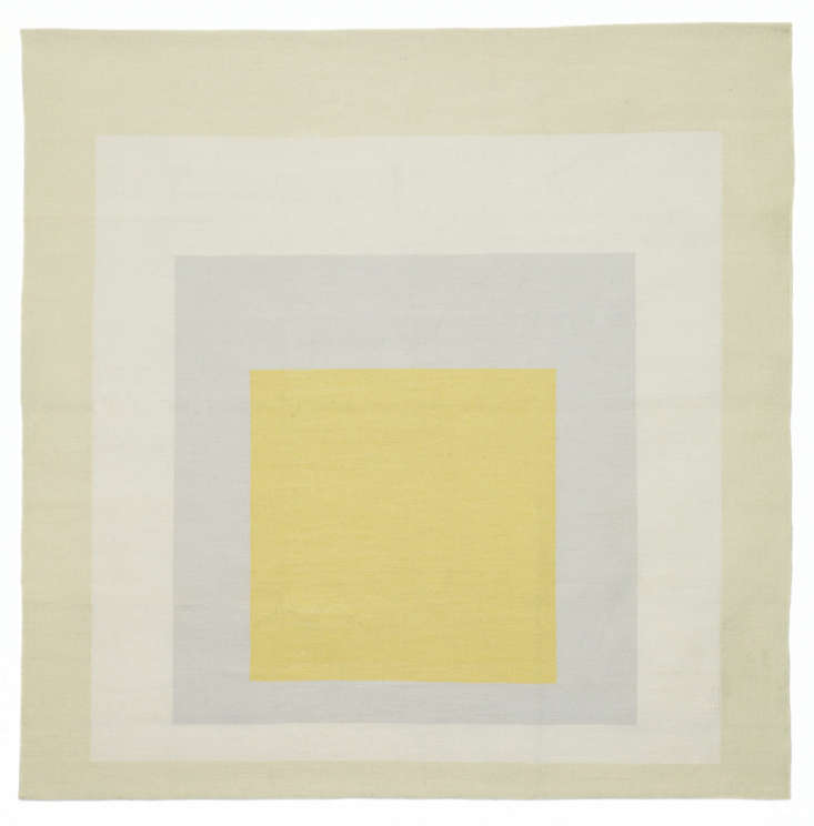 Working in collaboration with the Albers Foundation, Christopher Farr Editions of London and LA recently debuted this licensed handwoven wool rug, Josef Albers Homage to the Square: Yellow Eden. It&#8