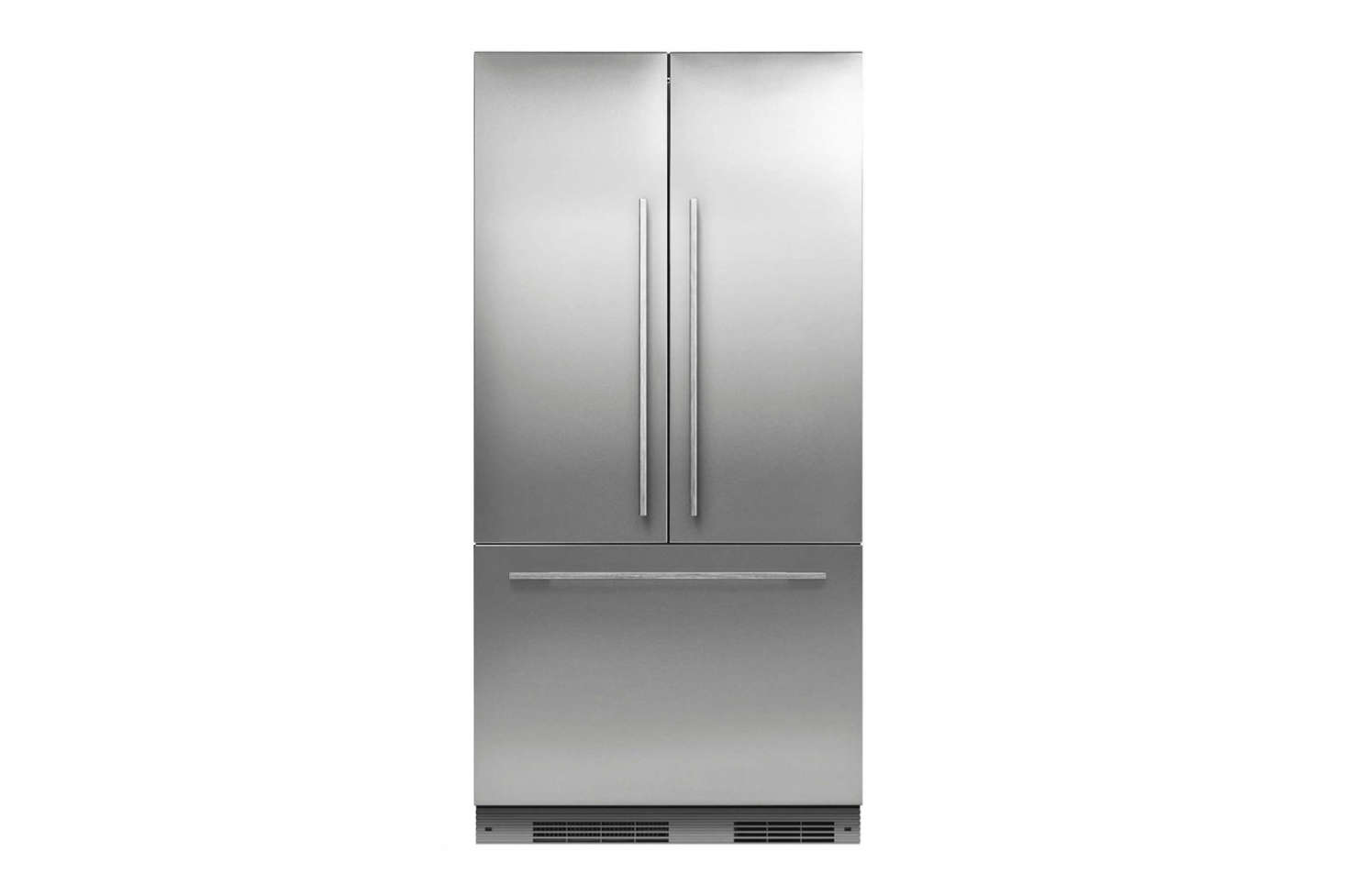The refrigerator featured is the Fisher & Paykel ActiveSmart Fridge French Door Slide-in Panel Ready RS90Asrc=