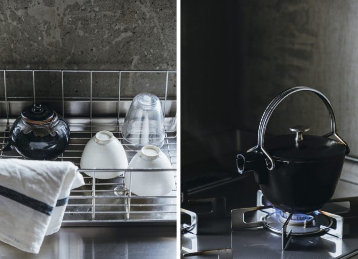 Every detail is considered, from the minimal dish rack to the Staub enameled tea kettle.