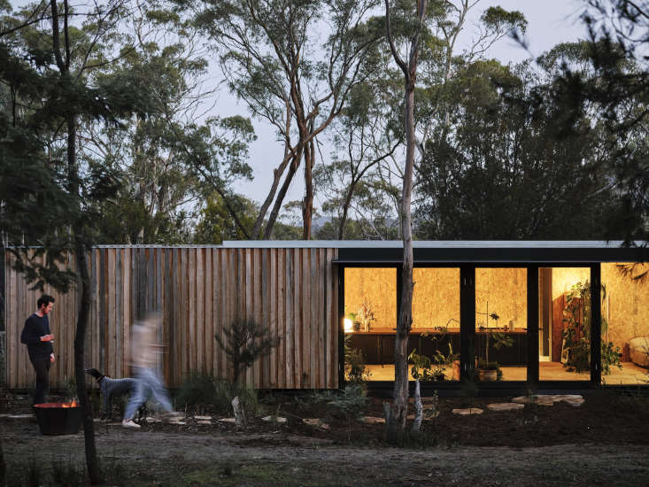 Locally and sustainably sourced raw wood board-and-batten cladding reference the many apple sheds in the area.