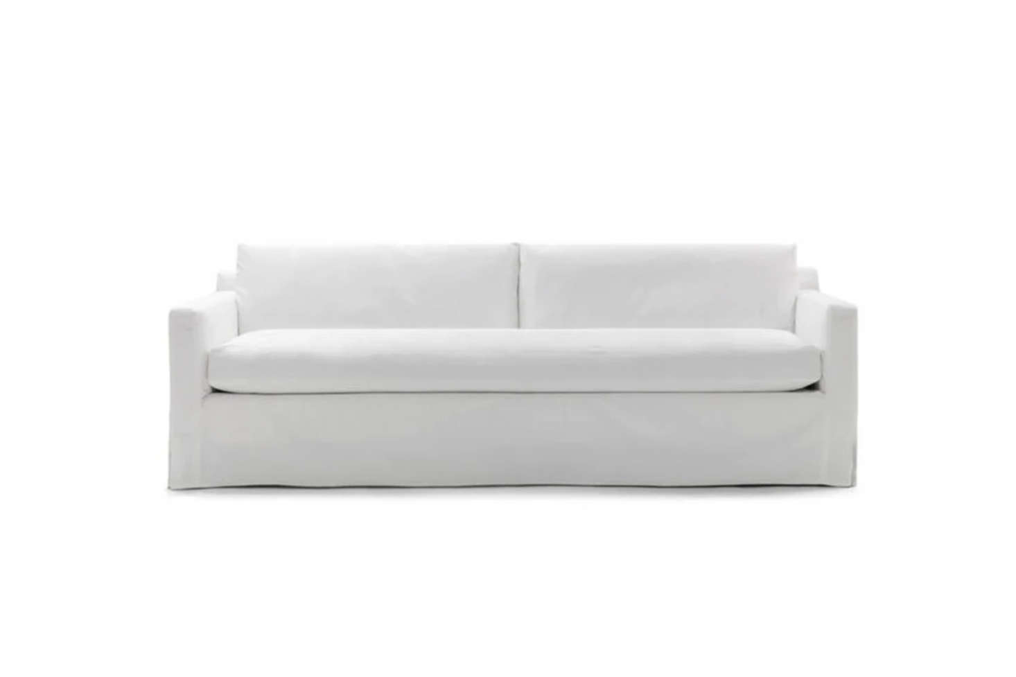 From Mitchell Gold + Bob Williams, the Hunter Long Slipcovered Sofa is clean, simple, and versatile; $4,094.