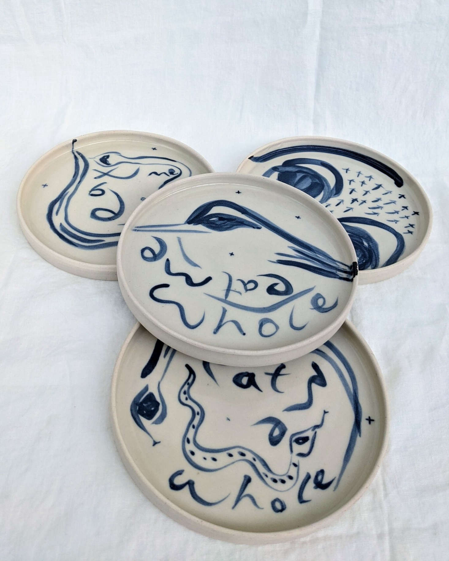 Collings-James released new work this month, but much of it has been sold already, including this set of four Eat Me Whole Plates for £300.