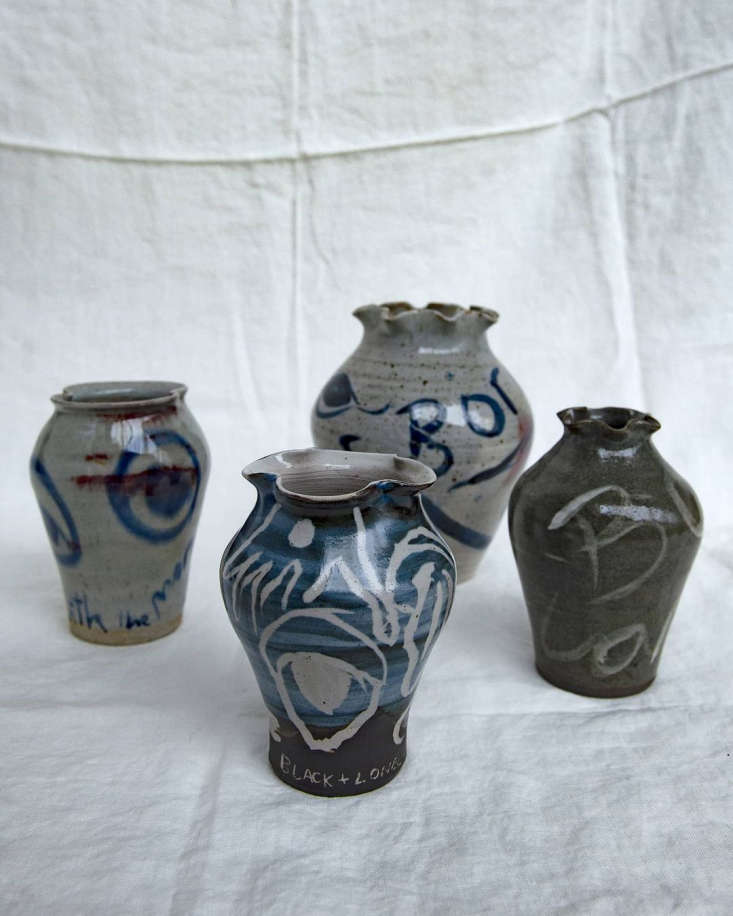 Her slipware pots (priced from £70 to £360) use either sgraffito and/or slip painting techniques. Sgraffito, Italian for &#8