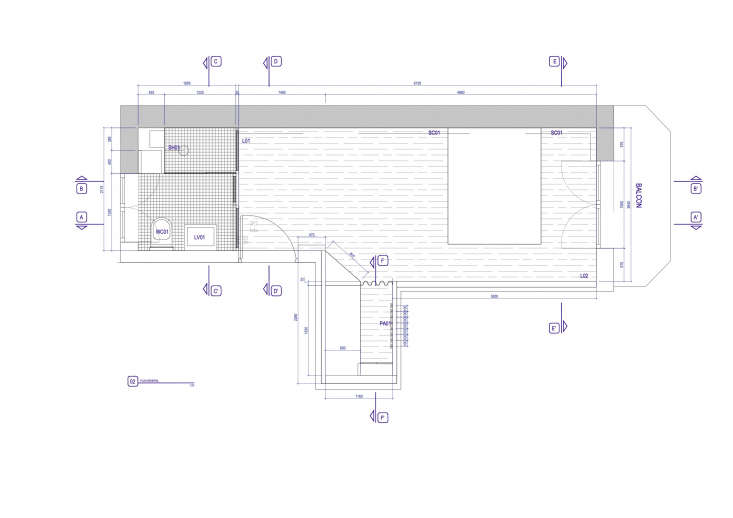 A Room of Ones Own An En Suite Retreat in Paris The floor plan shows elements not captured in the photos, including a balcony next to the bed, the dressing area, and laundry.