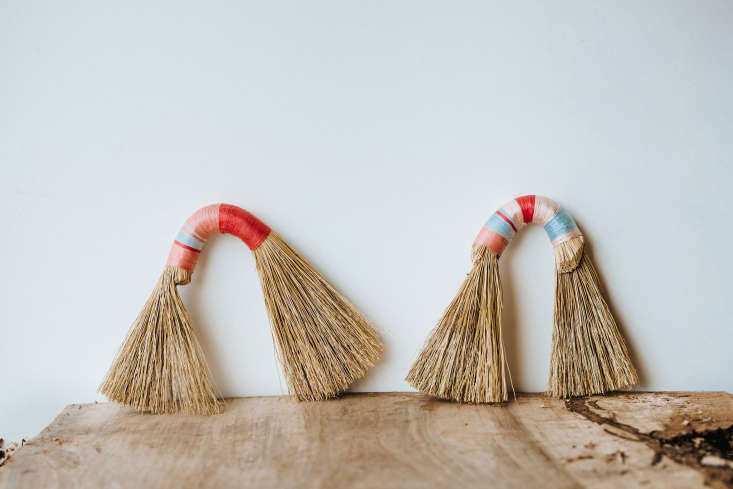 the whimsical rainbow broom (\$35) is a &#8\2\20;bent broom made of formed  9
