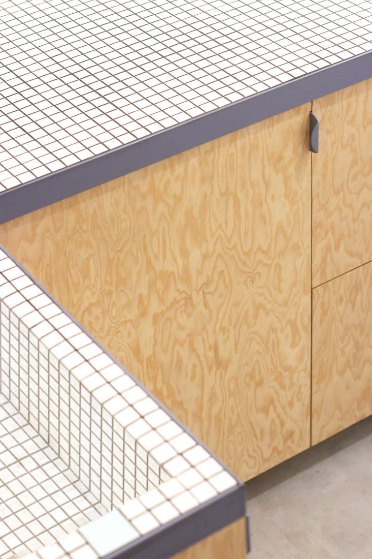 The cabinets are made of pine plywood finished with a water-based oil from Blanchon. The steel pulls are a loading=