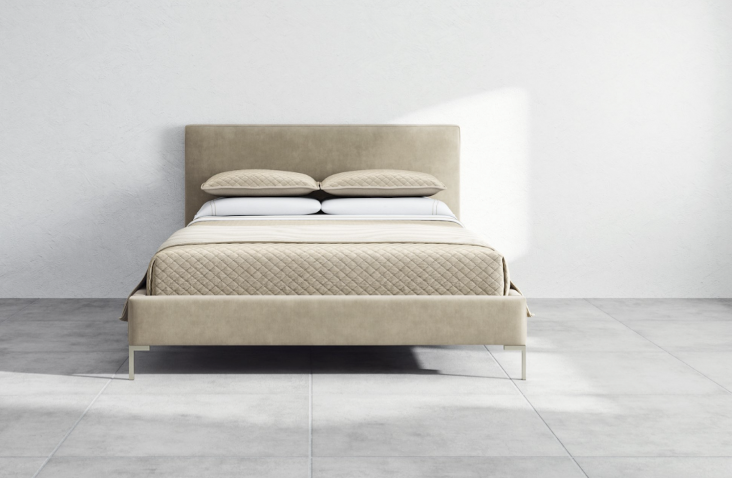 From mattress company Saatva, the Santorini Bed Frame is $src=