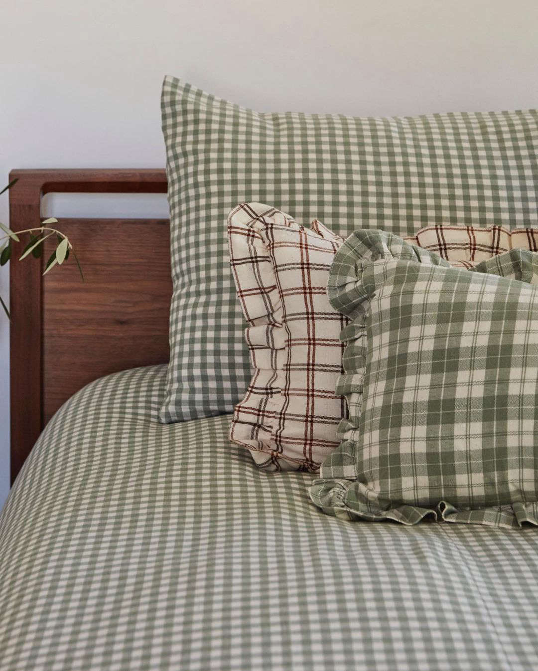 The Mini Gingham Duvet Cover in Sage Green, starting at $5.