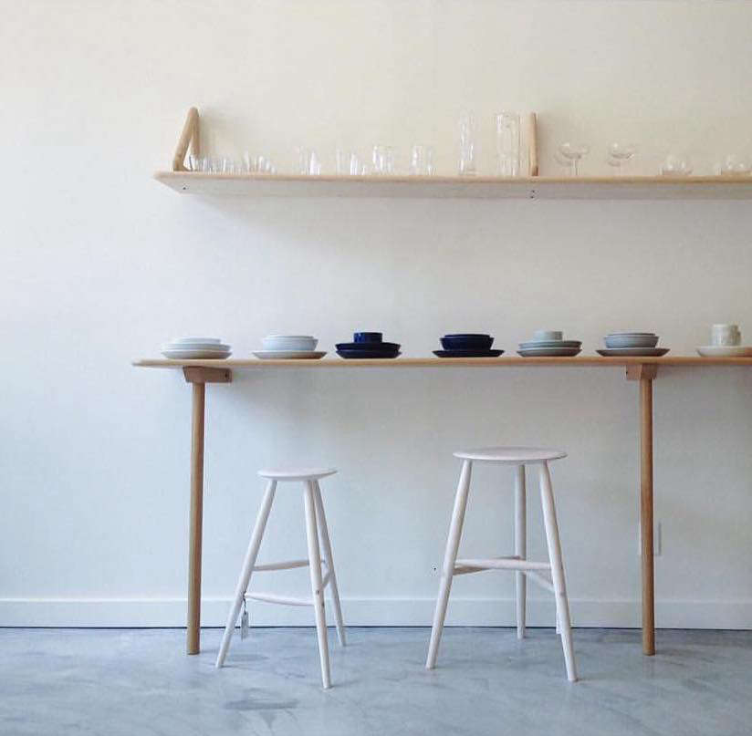 The slim-lined Drink Stool, at left. (At right is the taller Tall Stool.)