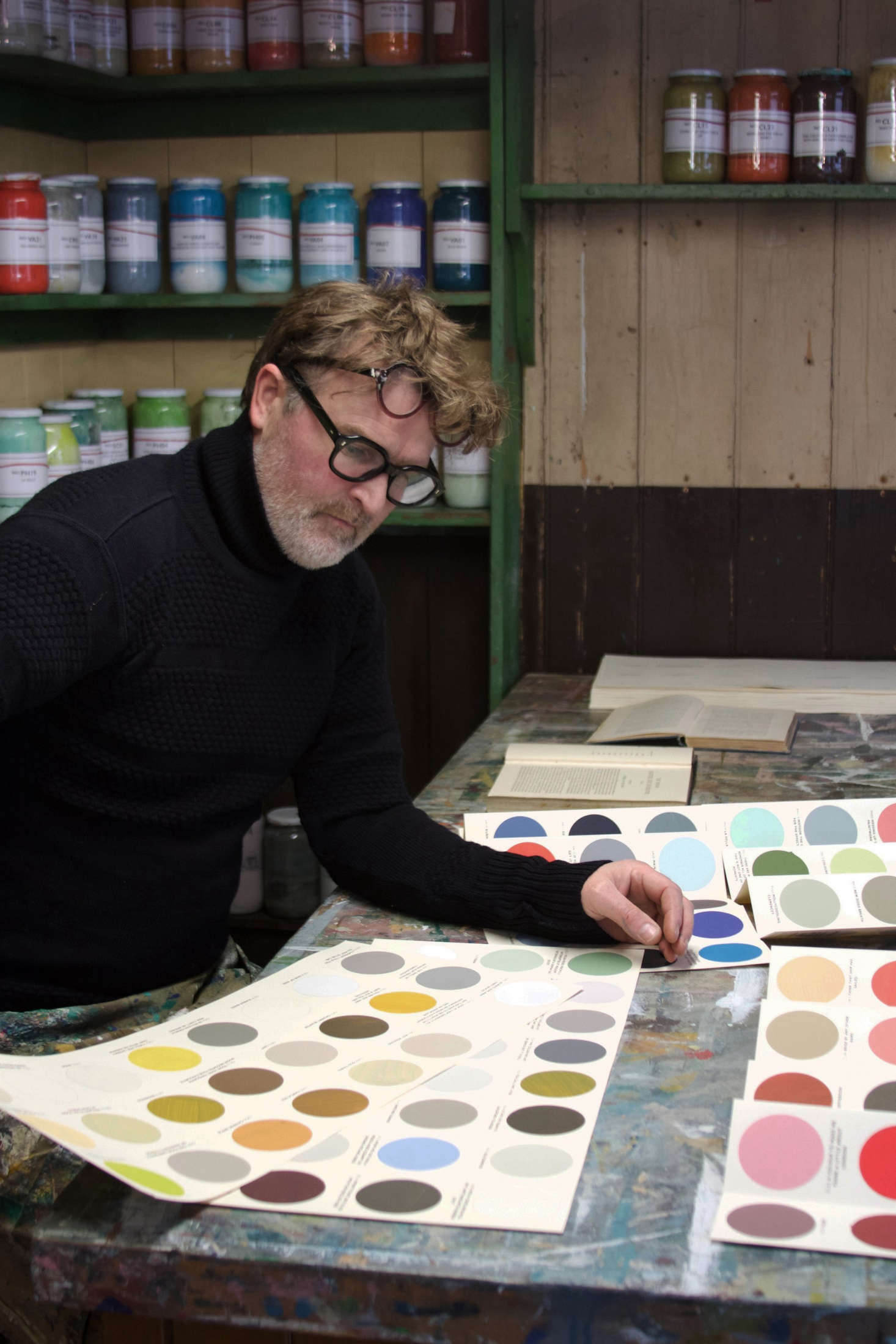 Simon March at work in his Lewes, East Sussex, shop.