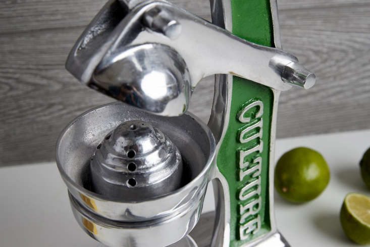 The small juicers are available with a trim choice of green (shown), red, or gold.