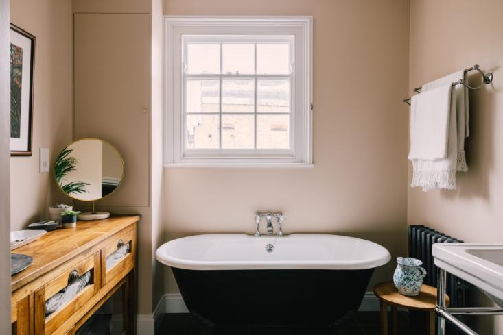 A cast-iron tub in the bathroom.