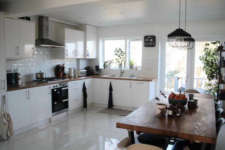 The all-white kitchen is Laxmi&#8