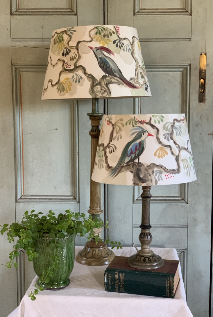 A lamp with hand-painted shade from Bloomsbury Revisited, a studio founded by Jane McCall and Jane Howard.
