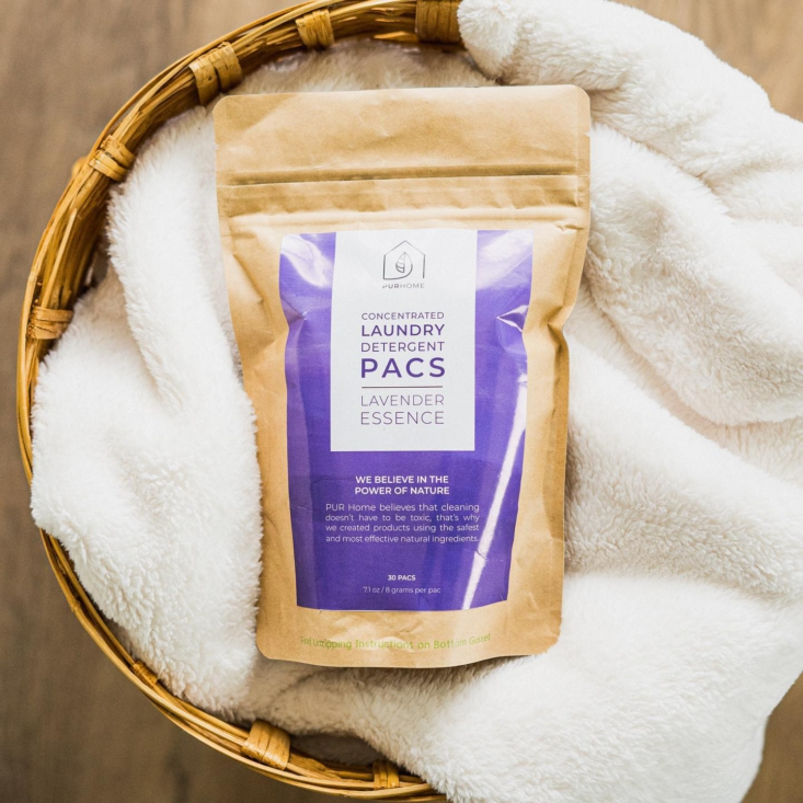 Pur Home The Latest Line of AllNatural Cleaners On Our List Concentrated Laundry Detergent Pacs are vegan, cruelty free, and made without &#8\2\20;harsh chemicals, chlorine, phosphates, or parabens&#8\2\2\1;; \$\1\2.95 from Pur Home.