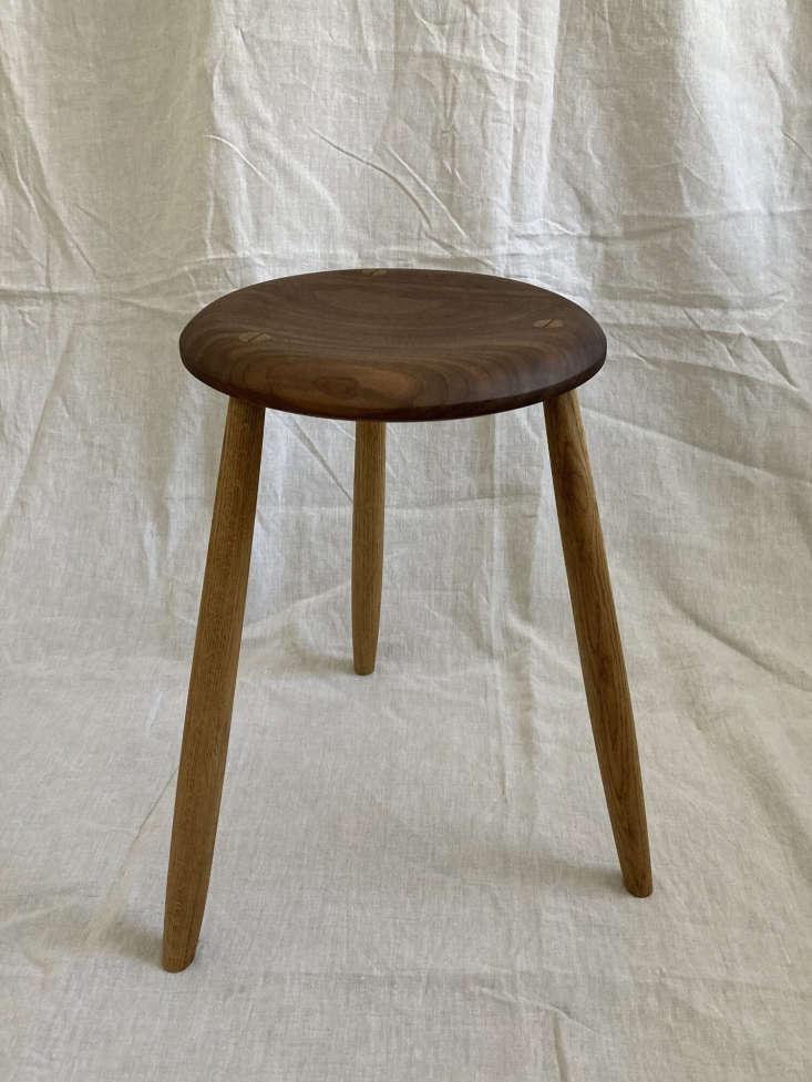 The handcrafted American Walnut and Oak Stool is available from Nora Khereddine in Munich.