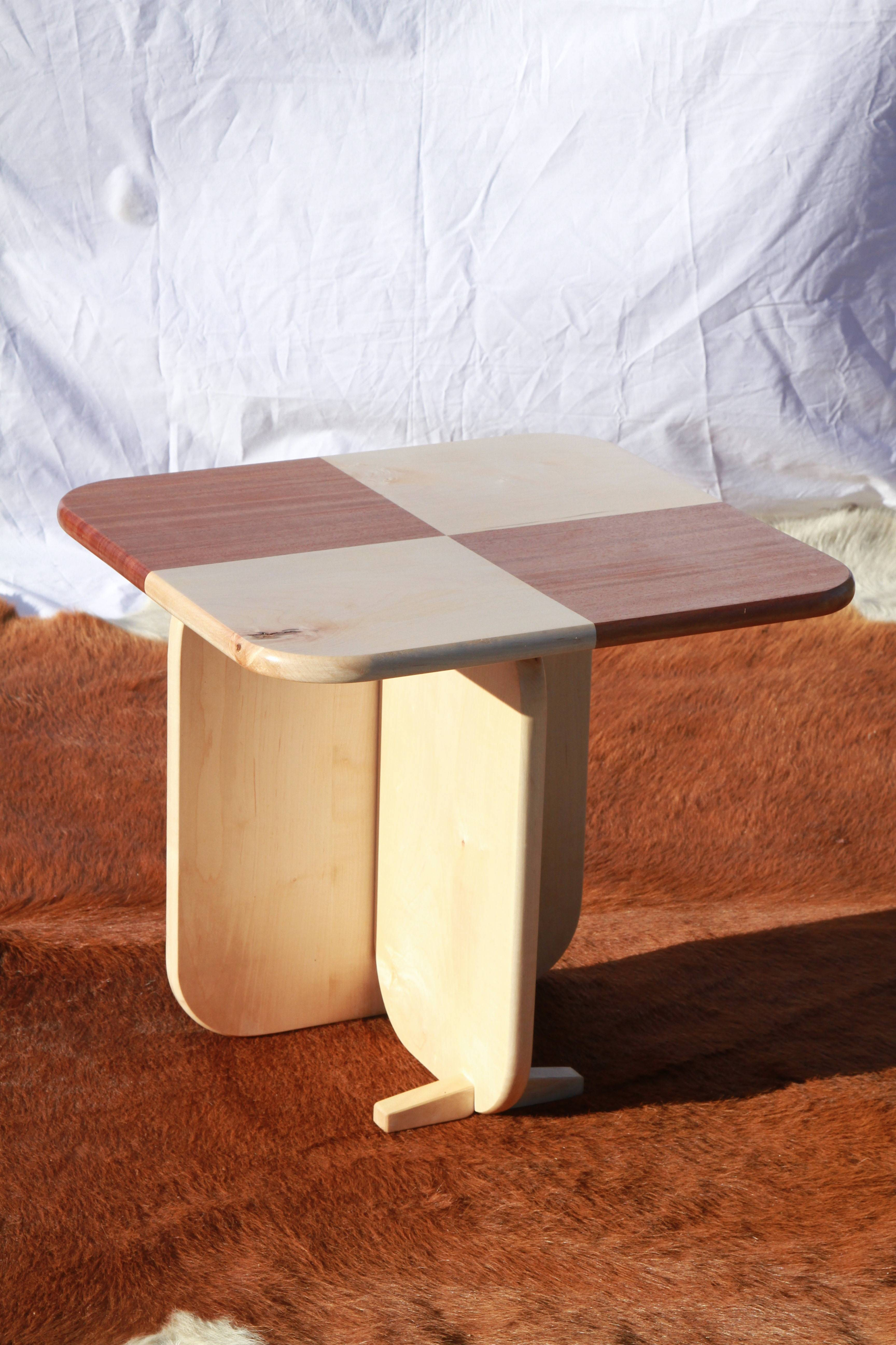 The Tricksy Checkered Side Table is made from African mahogany and soft maple.