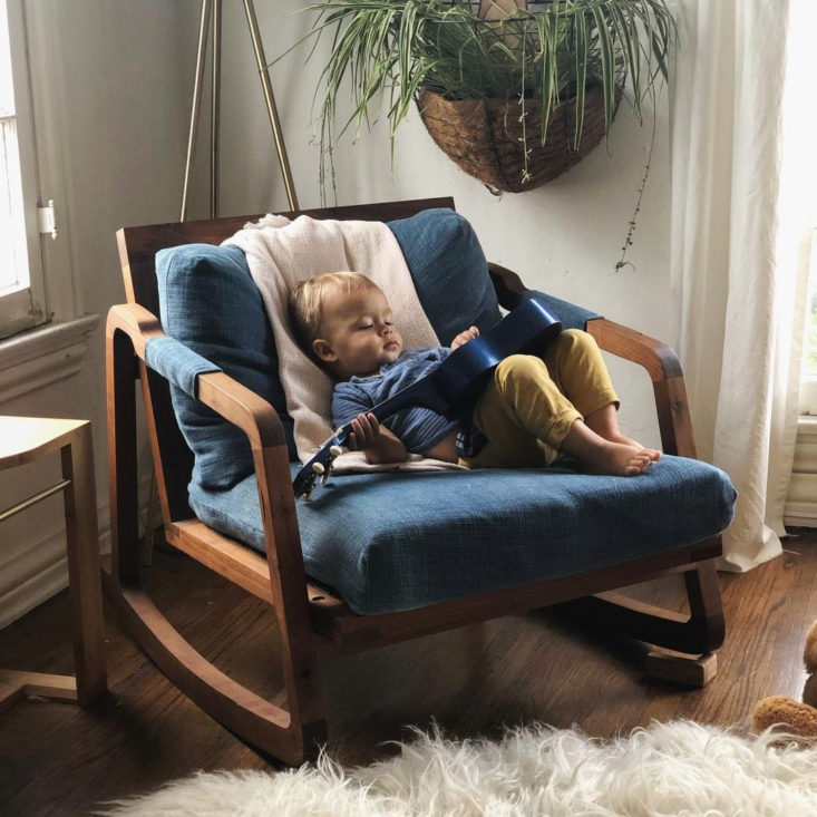 Bryan and his wife recently moved from Los Angeles to Nashville, where he continues to make pieces for Hummingbird + Hawk in addition to his graphic design and branding work. Pictured is his son, on the walnut rocker Bryan built for mother and son. &#8