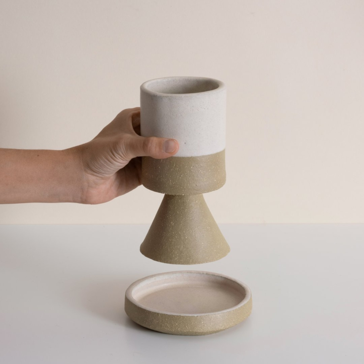 """Object of Desire The Contemporary Kiddush Cup for the Passover Table Judaica Standard Time's stonewareKiddush Cup, \$90, by LA ceramic studio BZippy comes with a dish """"in the event that your cup runneth over."""""""