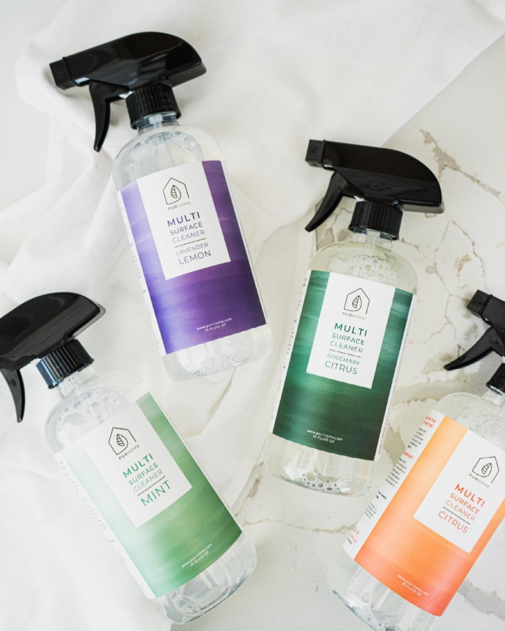 Pur Home The Latest Line of AllNatural Cleaners On Our List The Multi Surface Cleaner in a spray bottle is currently available in Lavender and Lemon, Citrus, Mint, and Rosemary Citrus; \$9 via Pur Home.
