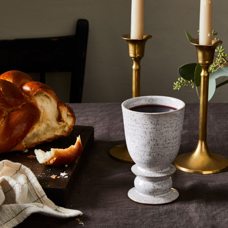 Brooklyn ceramic artist Rachael Pots has a line of made-to-order Judaica. Her handmade stoneware Kiddush Cups are also available from Food5