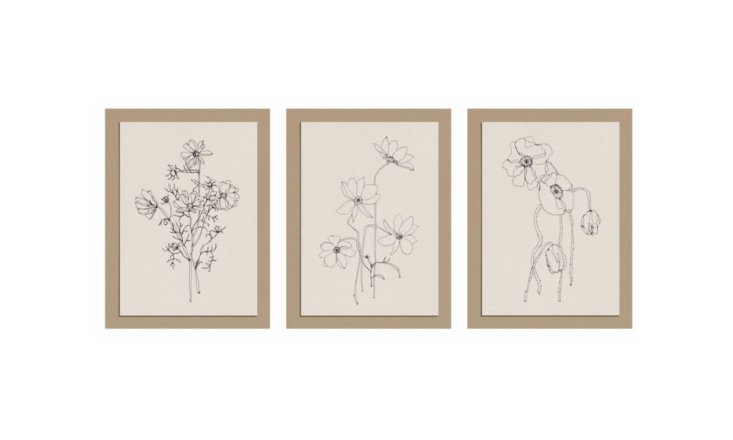 From artist Steffi Bauer, created especially for Nora Khereddine Objects: Sets of Three Floral Postcards (€6 for a set of three). One set features delphinium, clematis and echinacea; the other, poppies and two varieties of cosmos (shown).