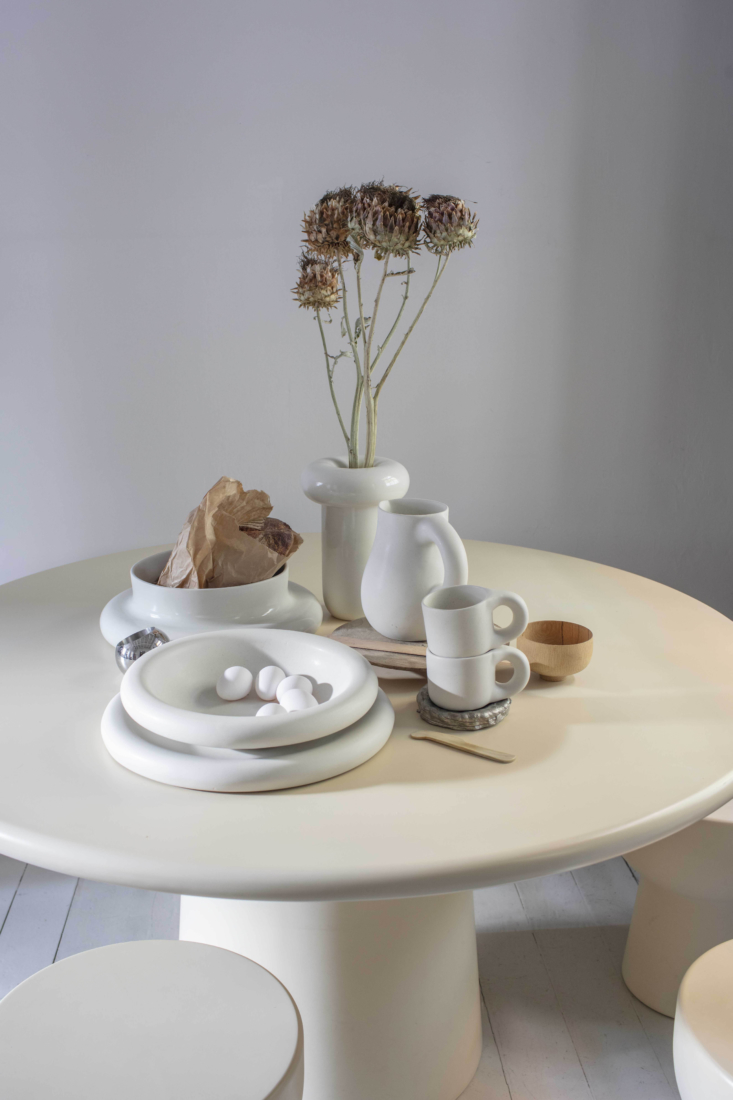 Ever fans of Faye Toogood, we are admiring her new collection of Toogood Homeware, including Dough (featuring jugs and bowls, shown here) and Plough (a pair of throws), launching soon. Photograph by Matthew Donaldson.