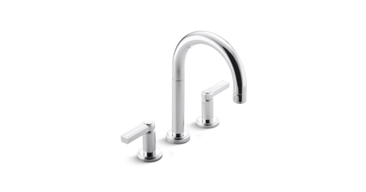 Designed by interior architect Laura Kirar for Kallista, the Vir Stil Minimal Sink Faucet features clean lines and is available in several finishes. Contact Kallista directly for information.