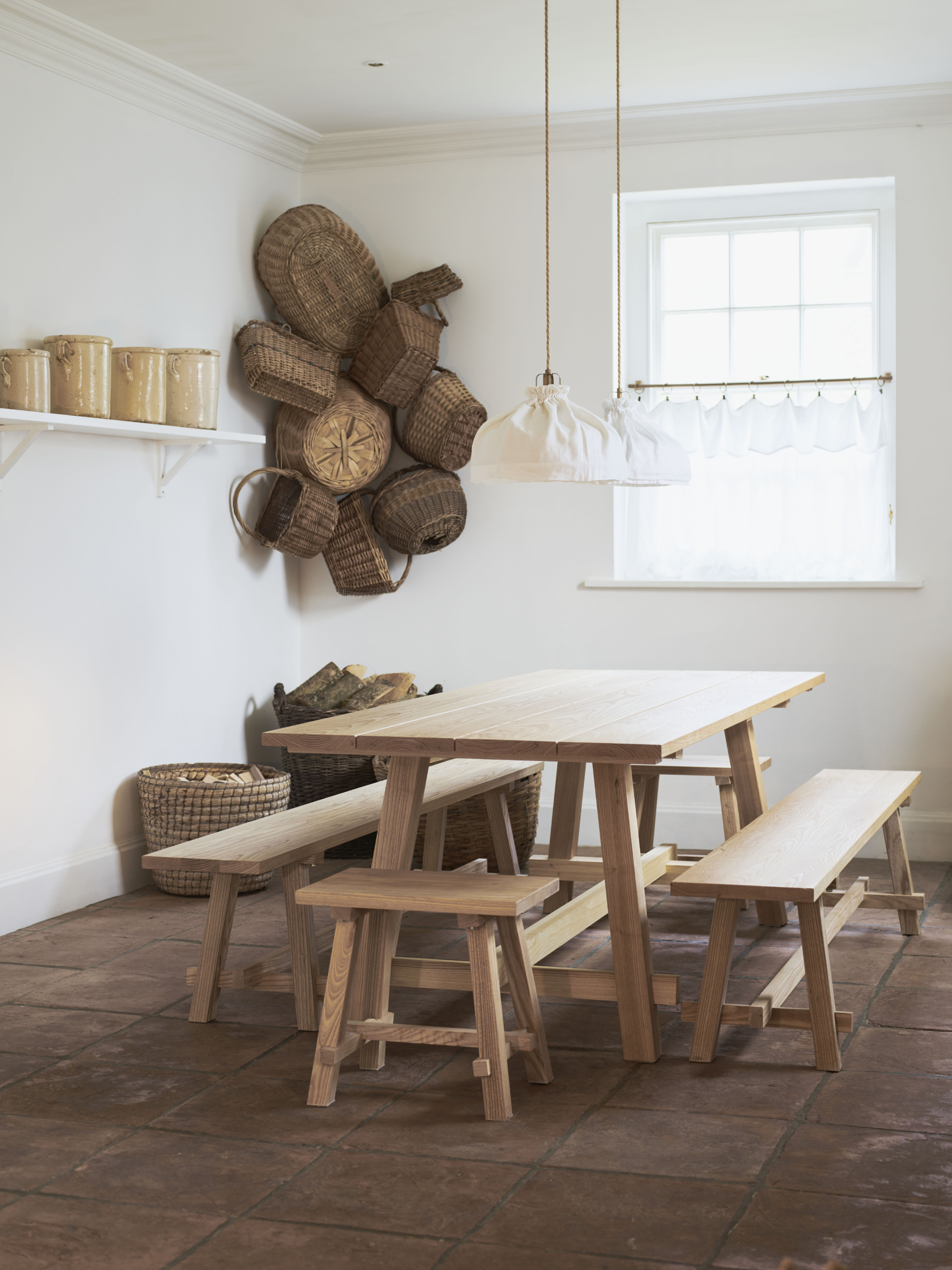 WoodEdit Kitchen Table in Ash, as seen in the home of the designers, Paul and Maria Le Mesurier.