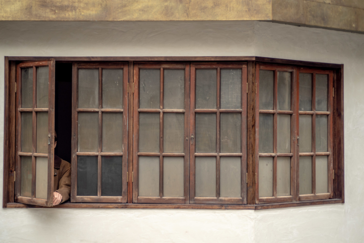 The hinoki-framed windows—with original opaque glass—came out of a Taiwan tear-down and were bought from a Taipei demolish business.