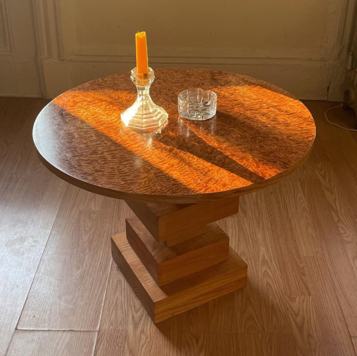 The Red Dryad Coffee Table is made from figured sapele with pine block base and red oak edge banding.