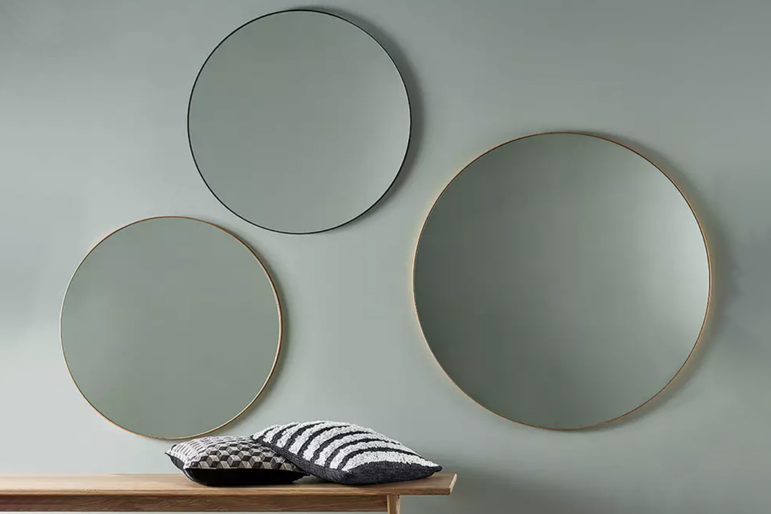 The Habitat Large Round Metal Mirror in gold is £0 and is also available in black. It&#8