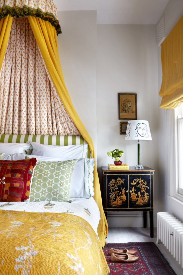 The three bedrooms are cottage size and now bright with color and pattern. The canopy is a mix of washed yellow linen and a block-print from Jaipur.
