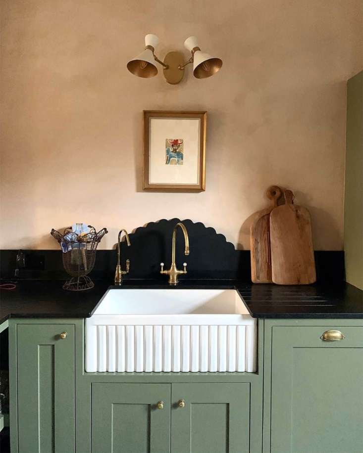 UK queen of scalloping, Matilda Goad is known for her lampshades (see below). Shown here, her West London kitchen with granite backsplash. See Trend Alert: Sculptural Backsplashes for more ideas. Photograph courtesy of Matilda Goad.