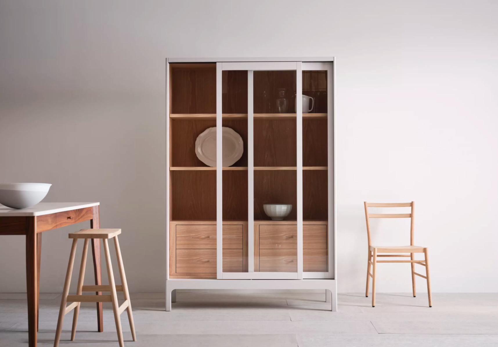 For a high end version of the white wall-mounted cabinet is the Pinch Joyce Cabinet White; £8,5 at Pinch Design.