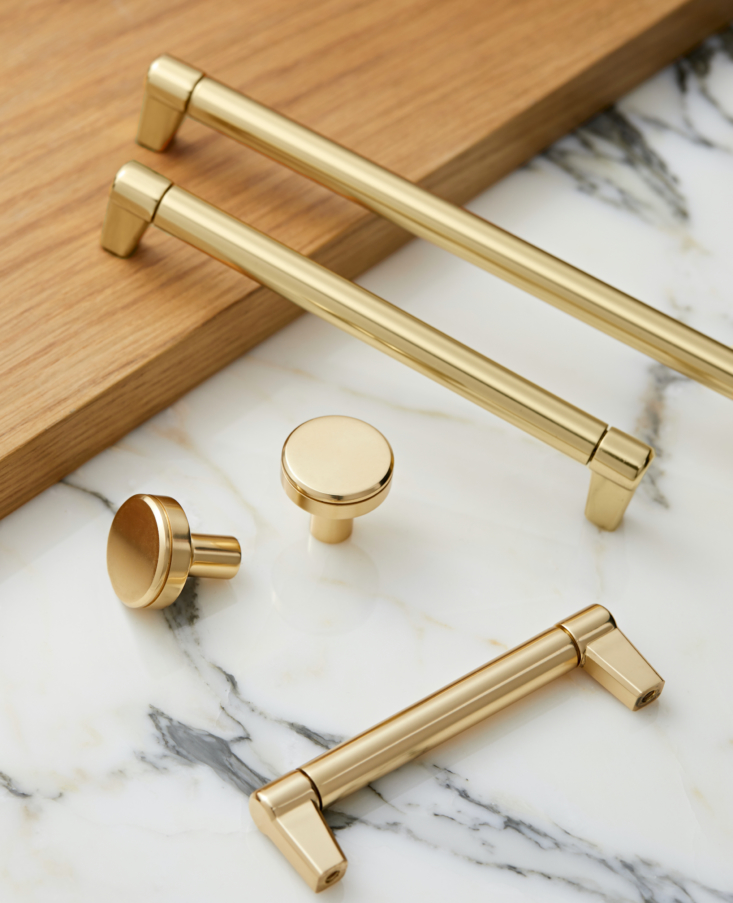 All of Rejuvenation's cabinet hardware and plumbing is available in multiple finish options that coordinate with their lighting offerings for easy cohesive design. Shown here: the Blair Drawer Pull (available in 4-inch, 6-inch, and 8-inch options) and the Blair Cabinet Knob ($ each).