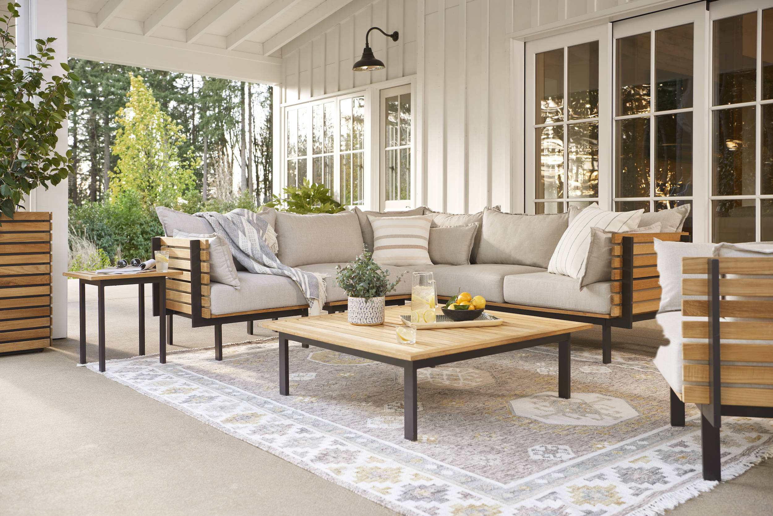 A comfortable, good-looking sofa, designed for outdoors: The Jasper Teak Three-Piece Sectional ($5,7) is crafted from sustainably sourced FSC-certified Grade A teak, which naturally repels water and is meant to age over time. The thick cushions are upholstered in durable, quick-dry Sunbrella fabric that&#8