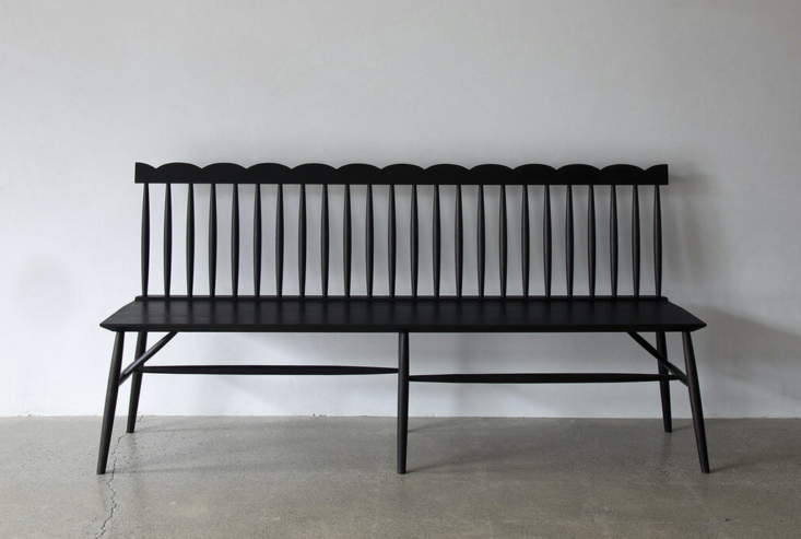 sawkille&#8\2\17;s scalloped bench is available in three woods and thee siz 21