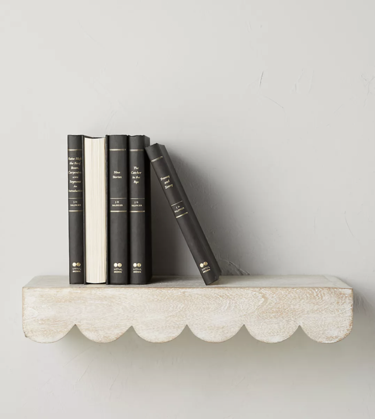 anthropologie&#8\2\17;s white washed scalloped shelf, \$78, is \18 inches l 15