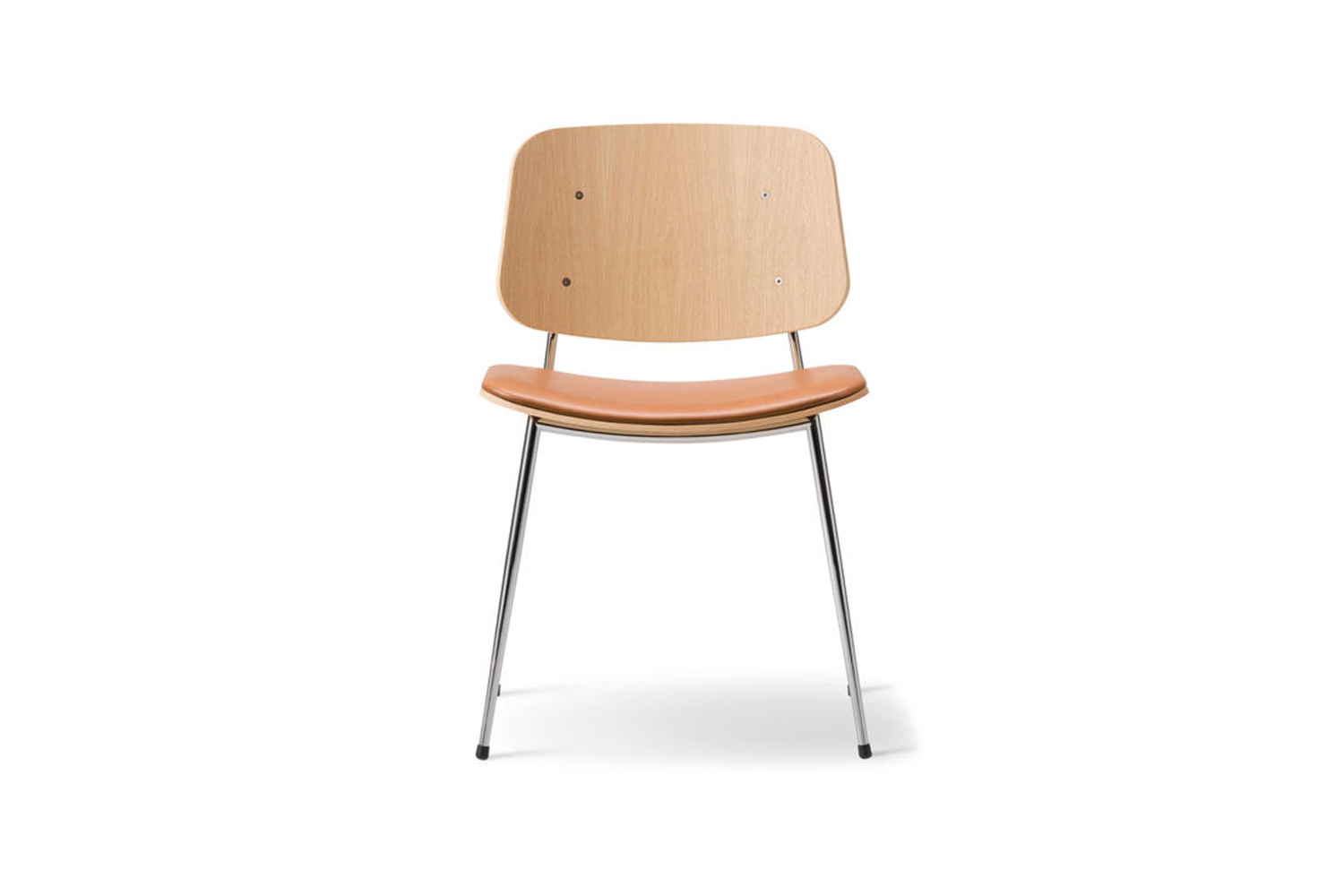 The Soborg Upholstered Seat Chair Metal Base is similar to the simple dining chairs in the Denmark kitchen. The Soborg is $865 at Hive.