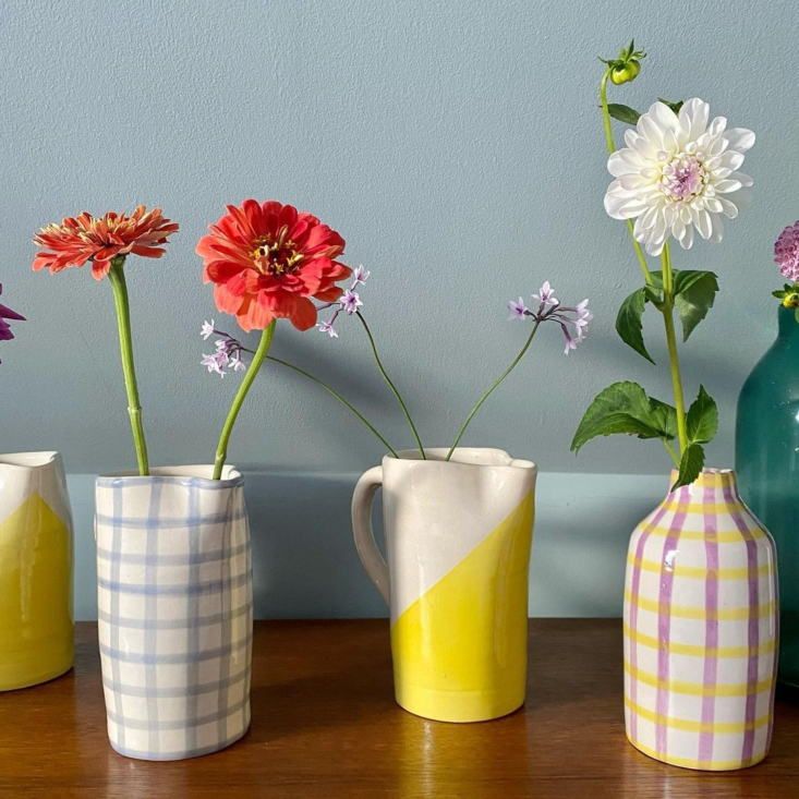 A collection of bright vases.